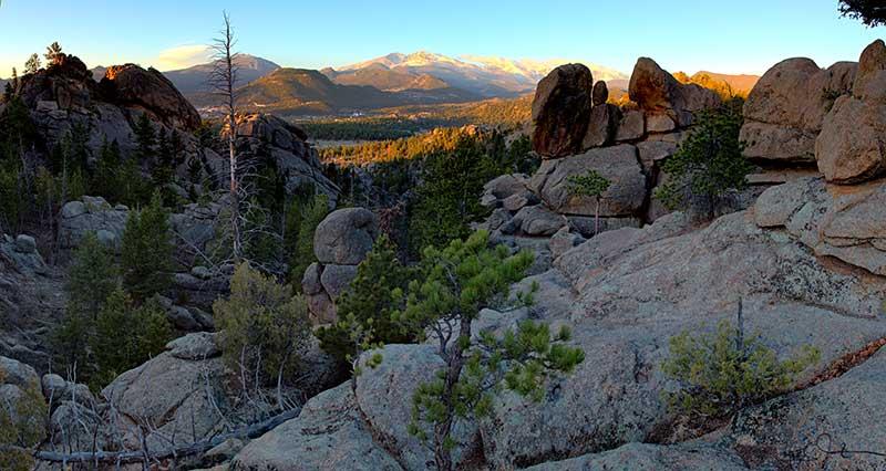 Looking towards Estes Park, Colorado, from Lumpy Ridge.