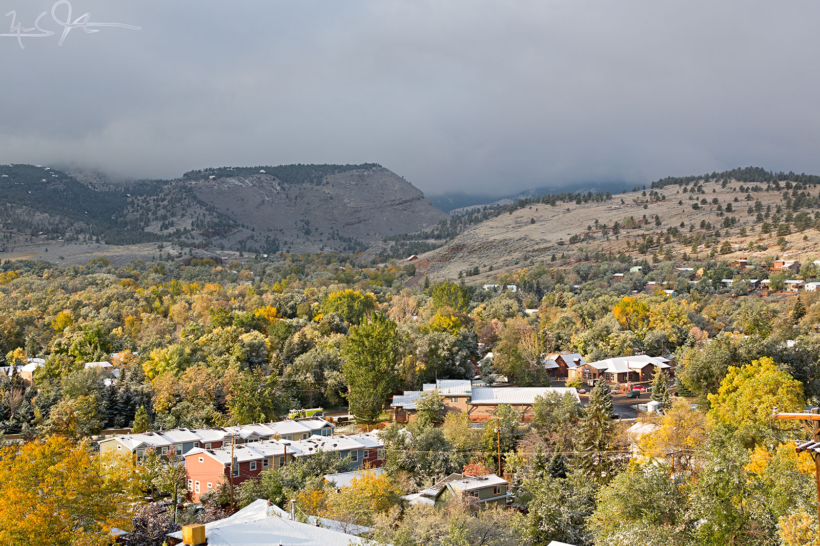 A dusting of snow over the town of Lyons, CO.