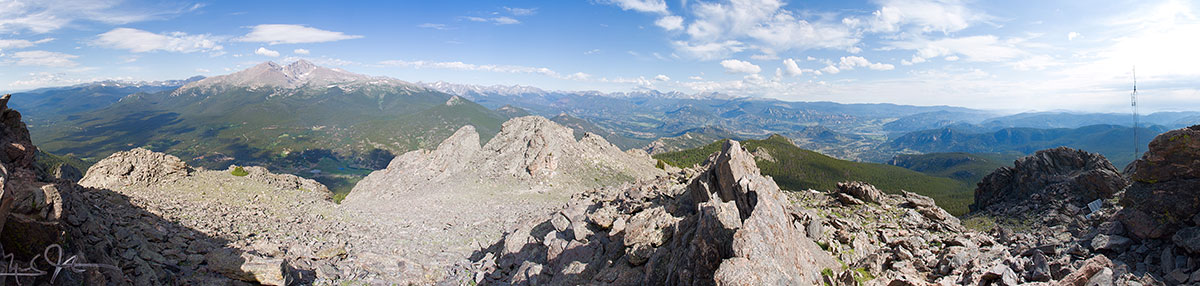 Panorama from the top of Twin Sisters Peak.  Mt. Meeker and Long's Peak at left, Estes Park at right.