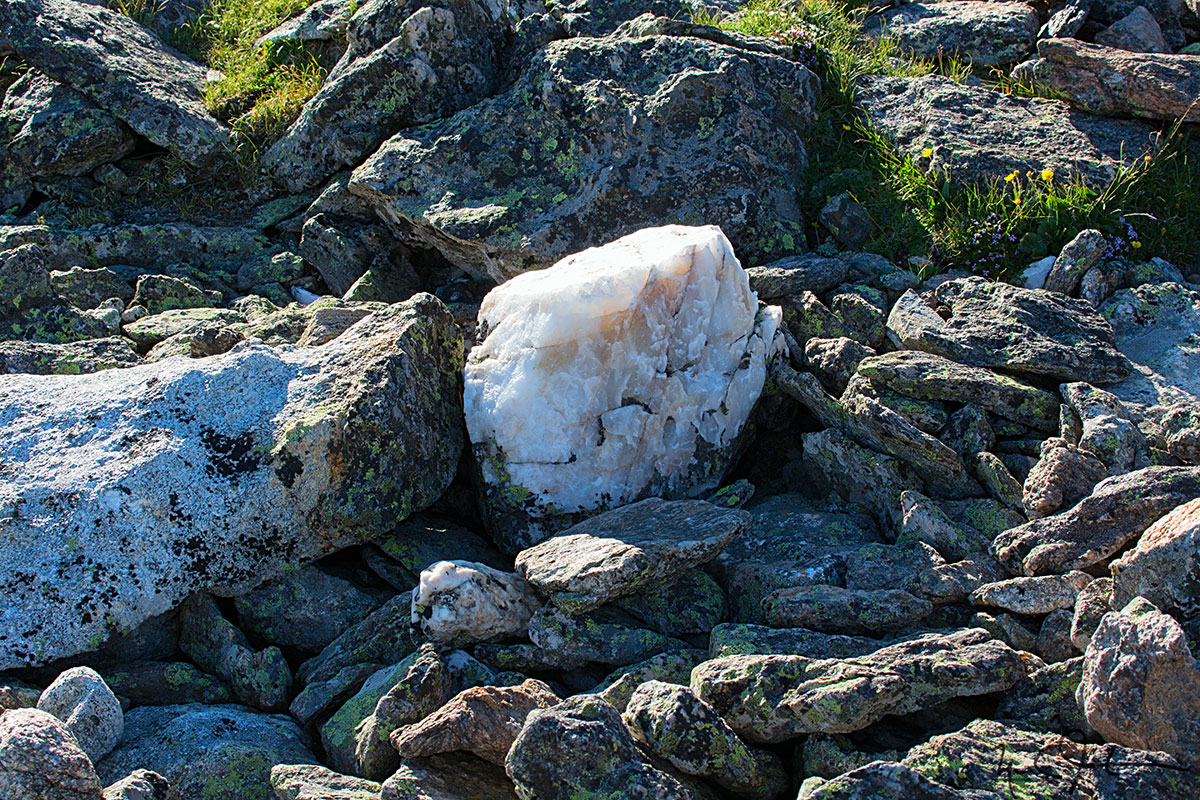A creamy lump of quartz sits among the boulders near Mt. Ida.