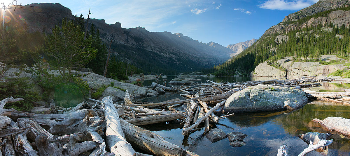 Mills Lake, and Glacier Gorge, with Long's Peak and Keyboard of the Winds on the skyline.