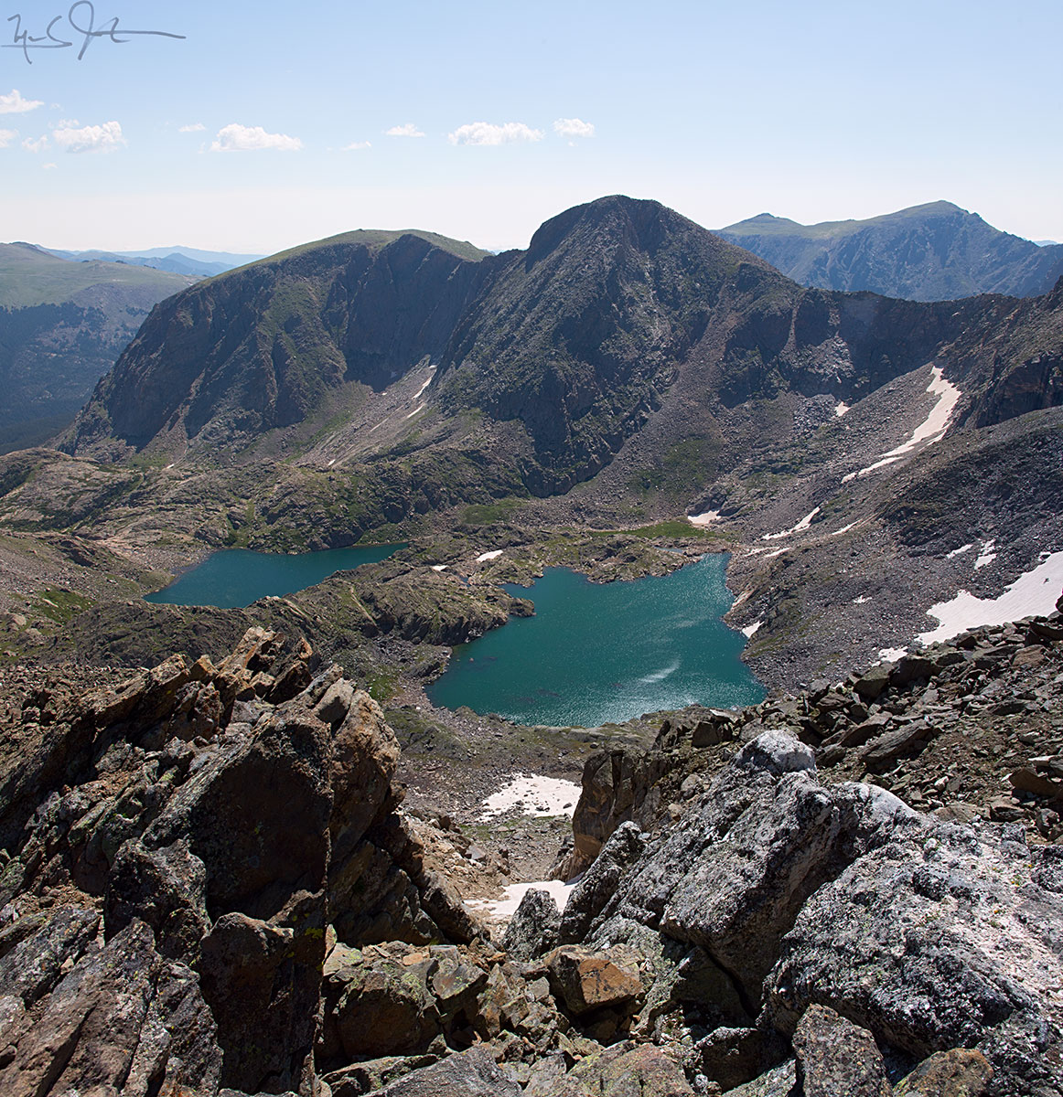 View from the top of Mt. Ida [elevation 12,889 ft]: Azure Lake and Inkwell Lake, with Mt. Julian and Terra Tomah rising up behind, Rocky Mountain National Park.