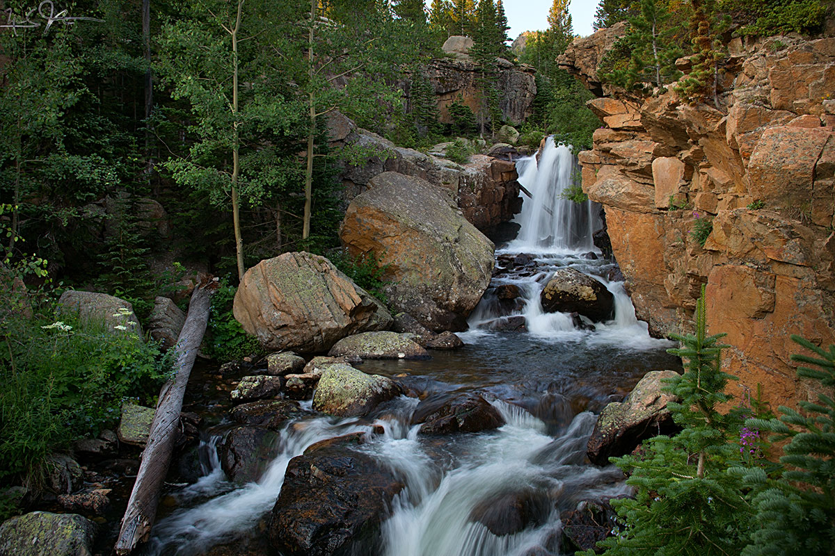 A waterfall in Glacier Gorge, Rocky Mountain National Park.