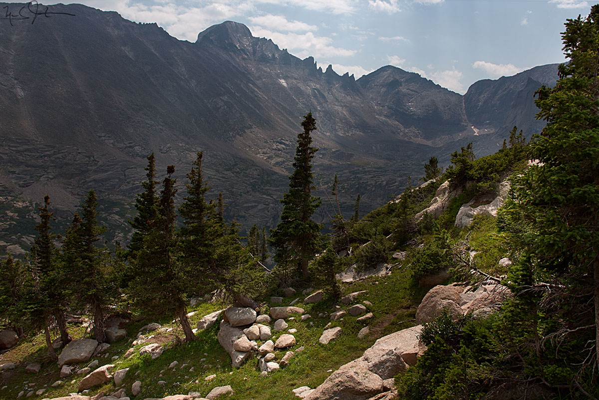 Looking across Glacier Gorge at Long's Peak, Keyboard of the Winds, and Pagoda Mountain, from near Shelf Lake.