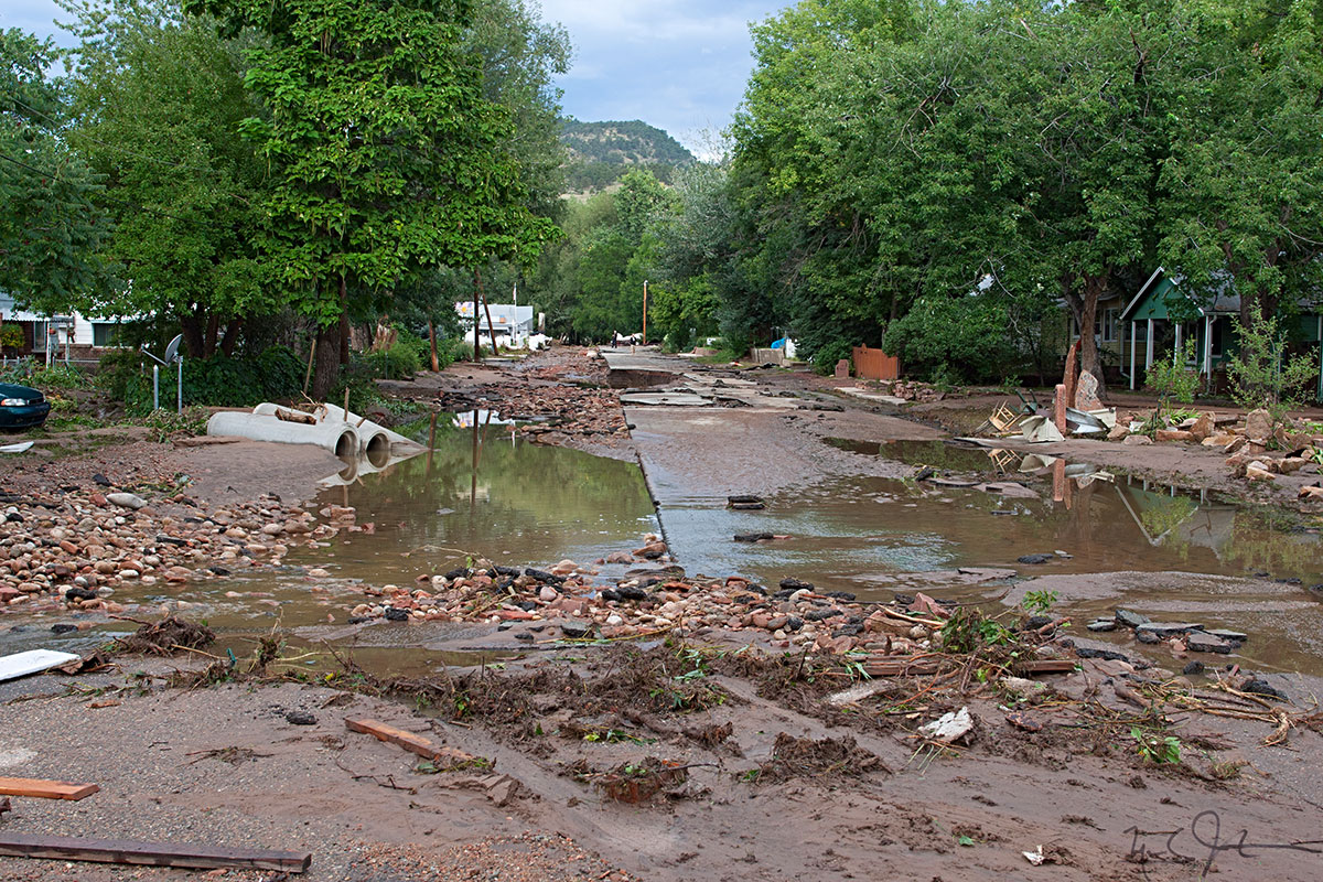 Many low-lying neighborhoods were inundated as the St. Vrain River overran its banks and even cut new channels through the town of Lyons, Colorado.