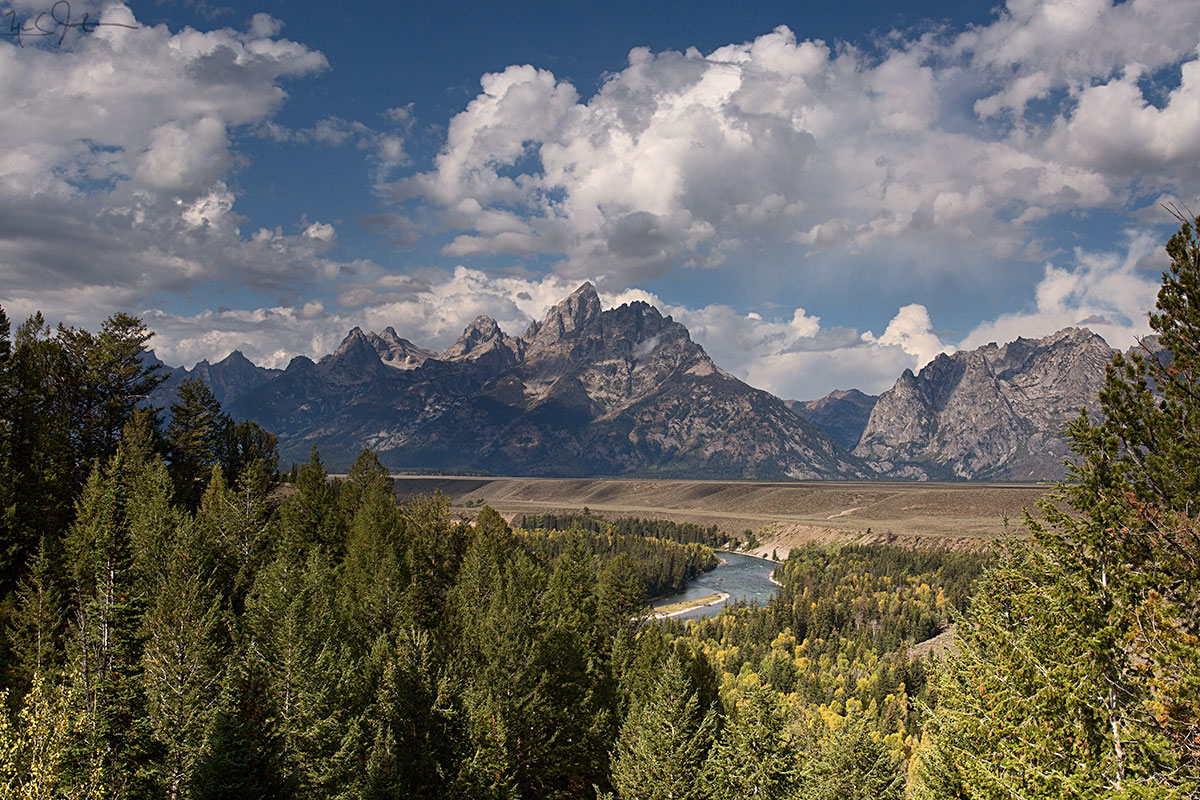 From the Snake River overlook, site of Ansel Adams's iconic photo of the Grand Tetons.  The trees have grown up a bit since Mr. Adams shot this view in 1942.
