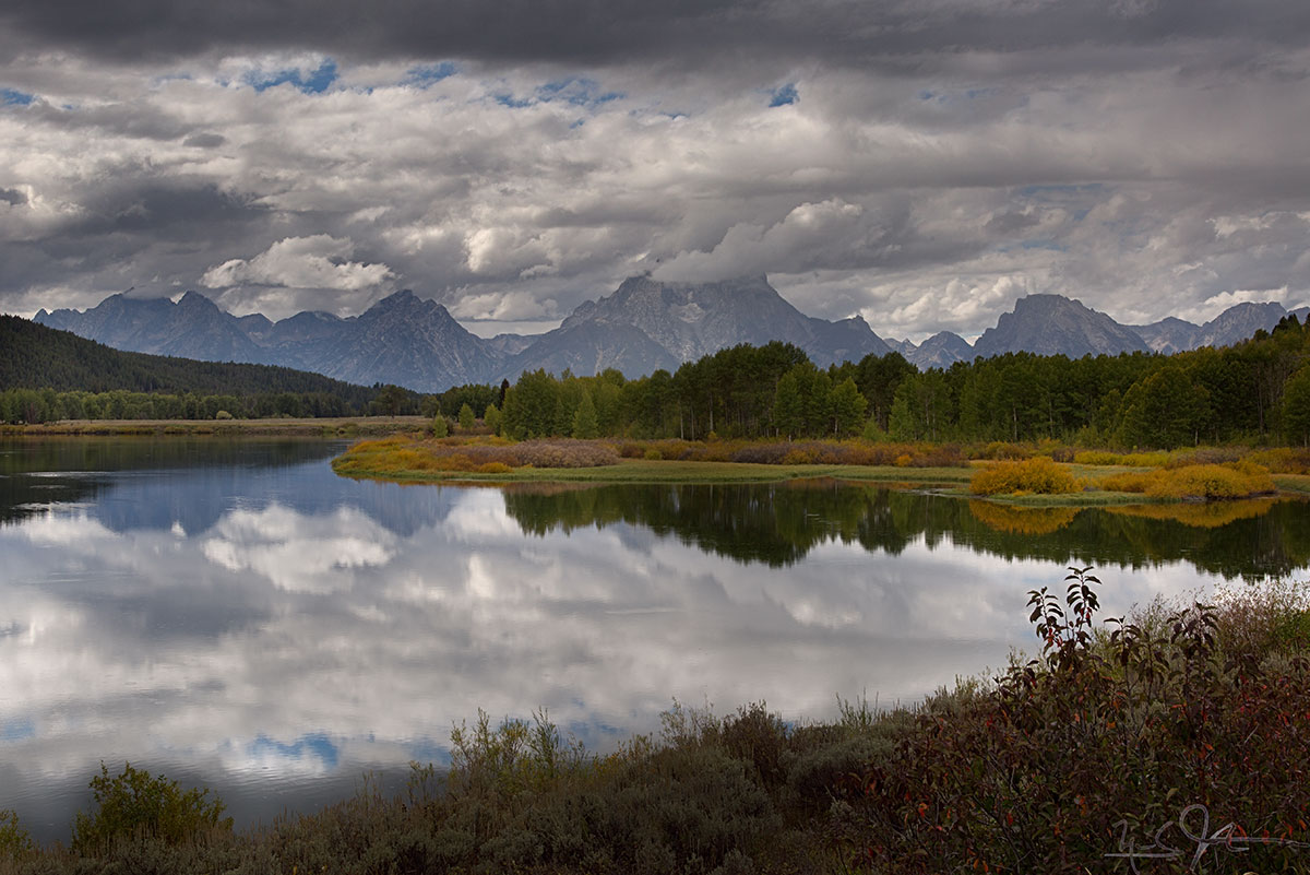 And from up closer at Oxbow Bend near the top of Jackson Lake.