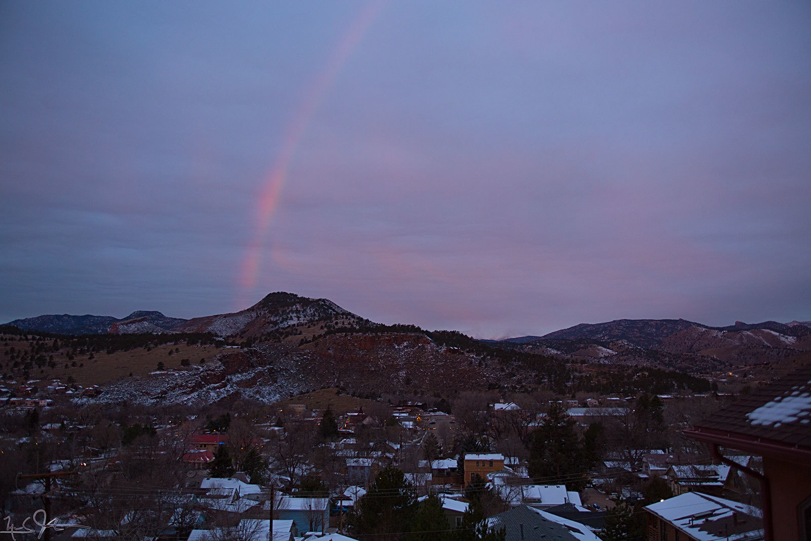 Massive rainbow over Lyons the morning of 25 Nov 2013.  Lasted only one minute, but it was a beauty.