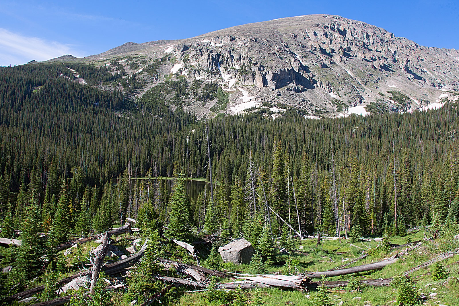 Copeland Mountain, whose smooth brow yields to a very rugged northwest face.