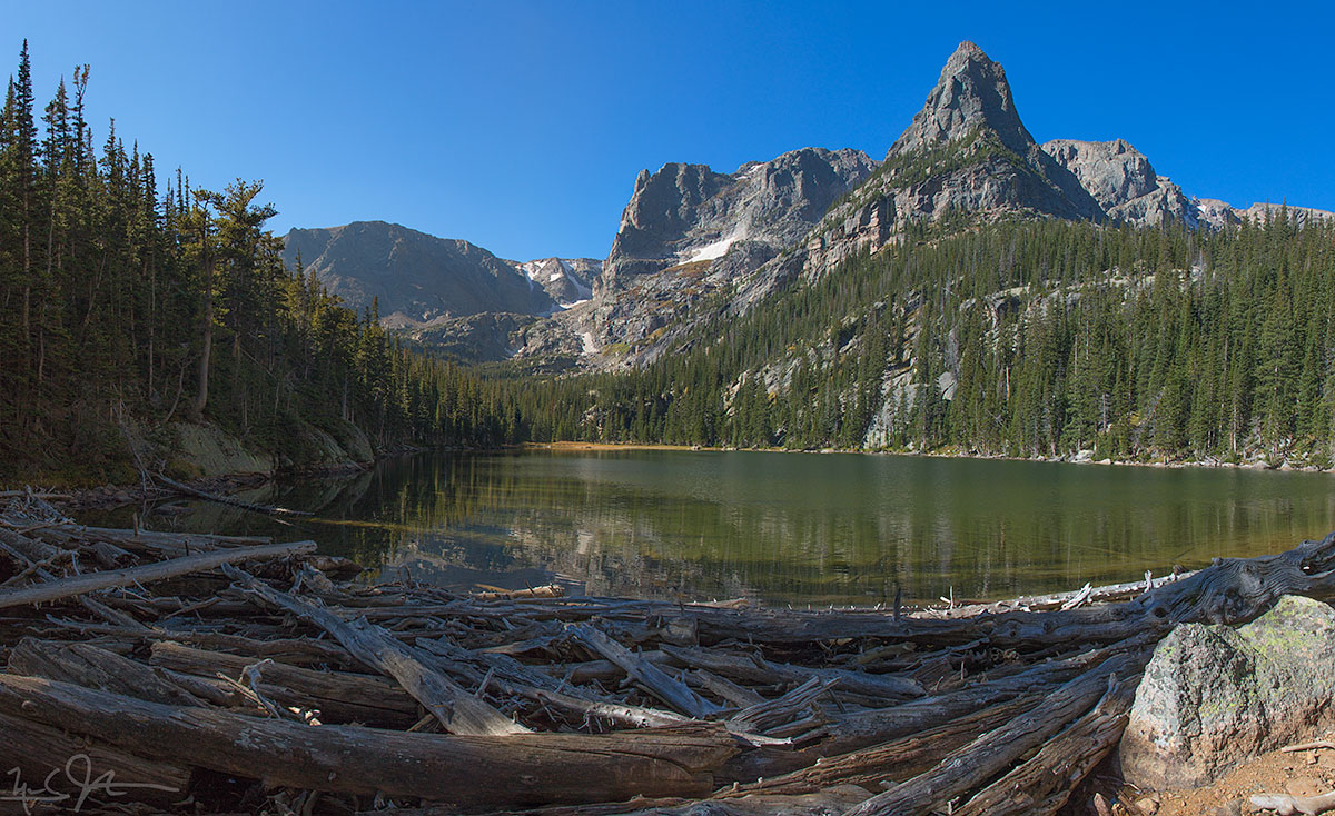 Odessa Lake, with Notchtop Mountain at center and the Little Matterhorn at right.