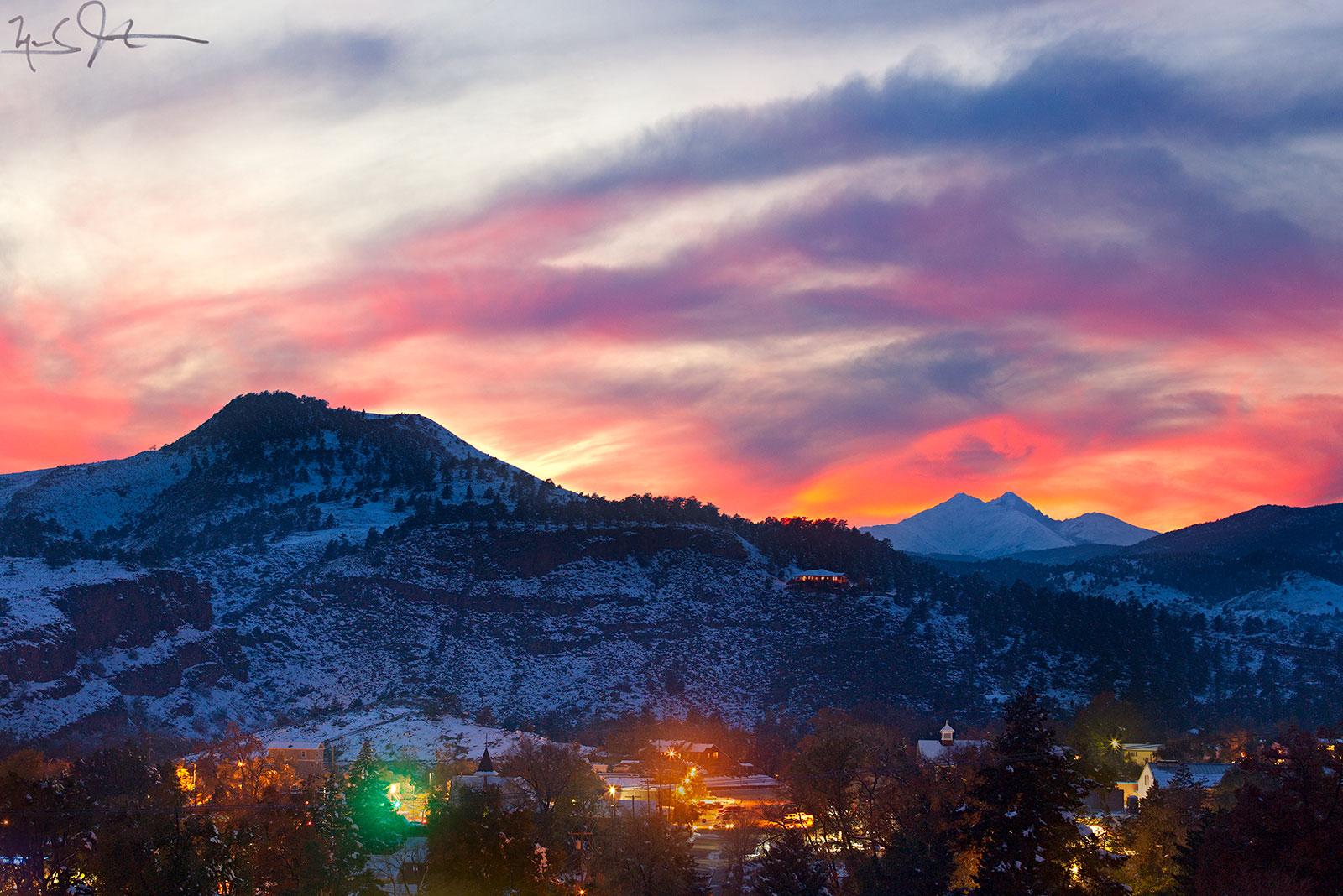 Winter sunset over Lyons, Colorado.