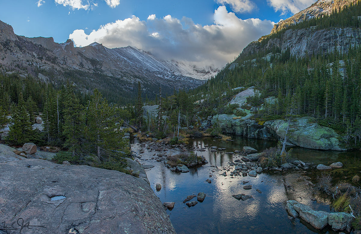 Looking up Glacier Gorge from below Mills Lake, Rocky Mountain National Park, Colorado.