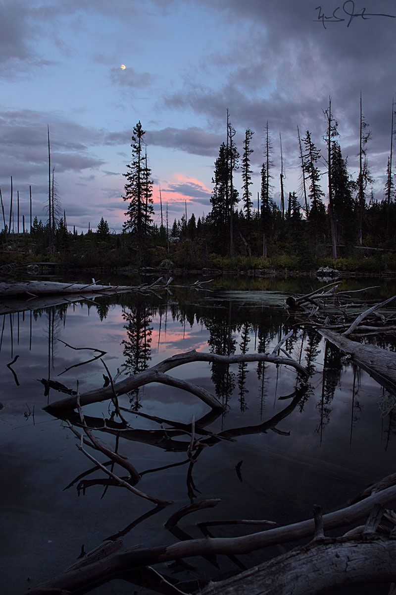 Sunset near String Lake, Grand Teton National Park, Wyoming.