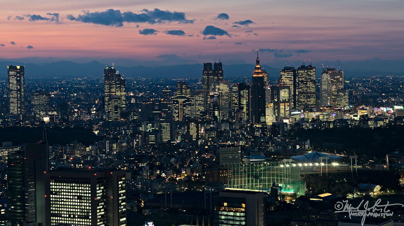 Tokyo's Shinjuku district at twilight.