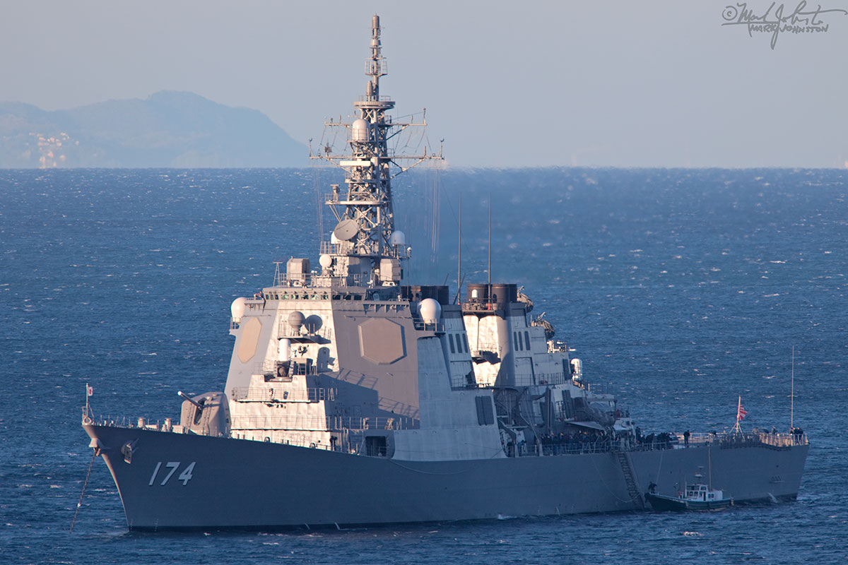 """The """"Kirishima"""". Kongo-class guided missile destroyer of the Japan Maritime Self-Defense Force, anchored off Ito City, Shizuoka Prefecture."""