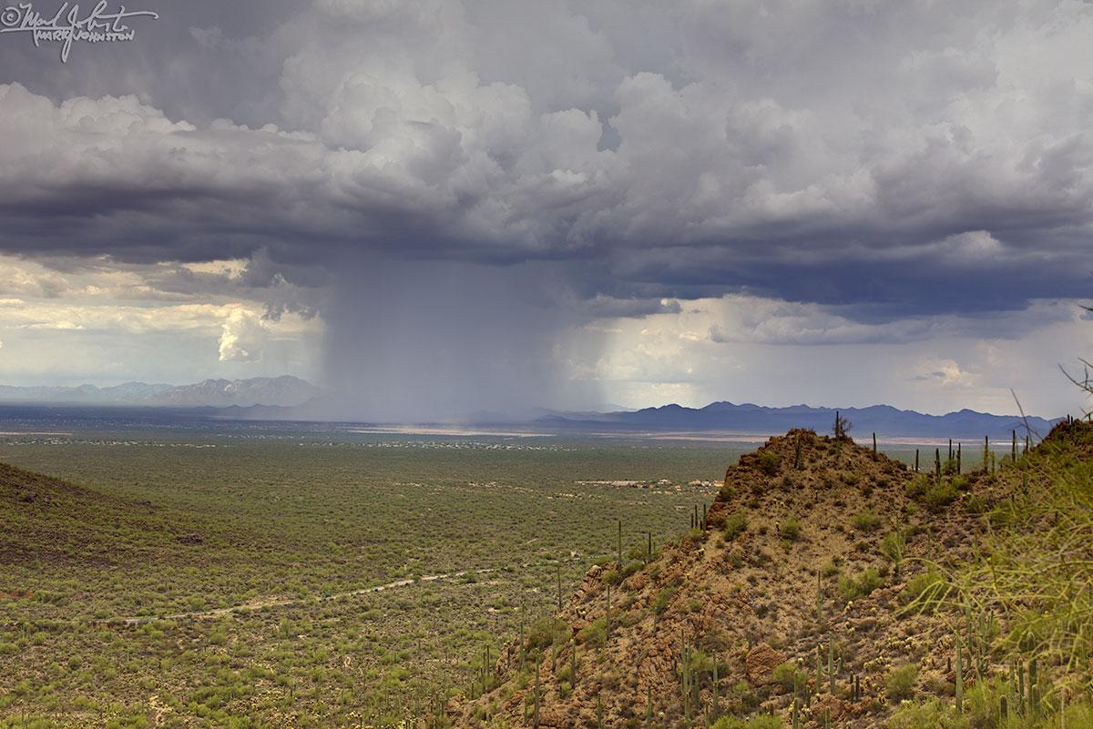 Rain squall west of Tucson, Arizona, from Gates Pass.