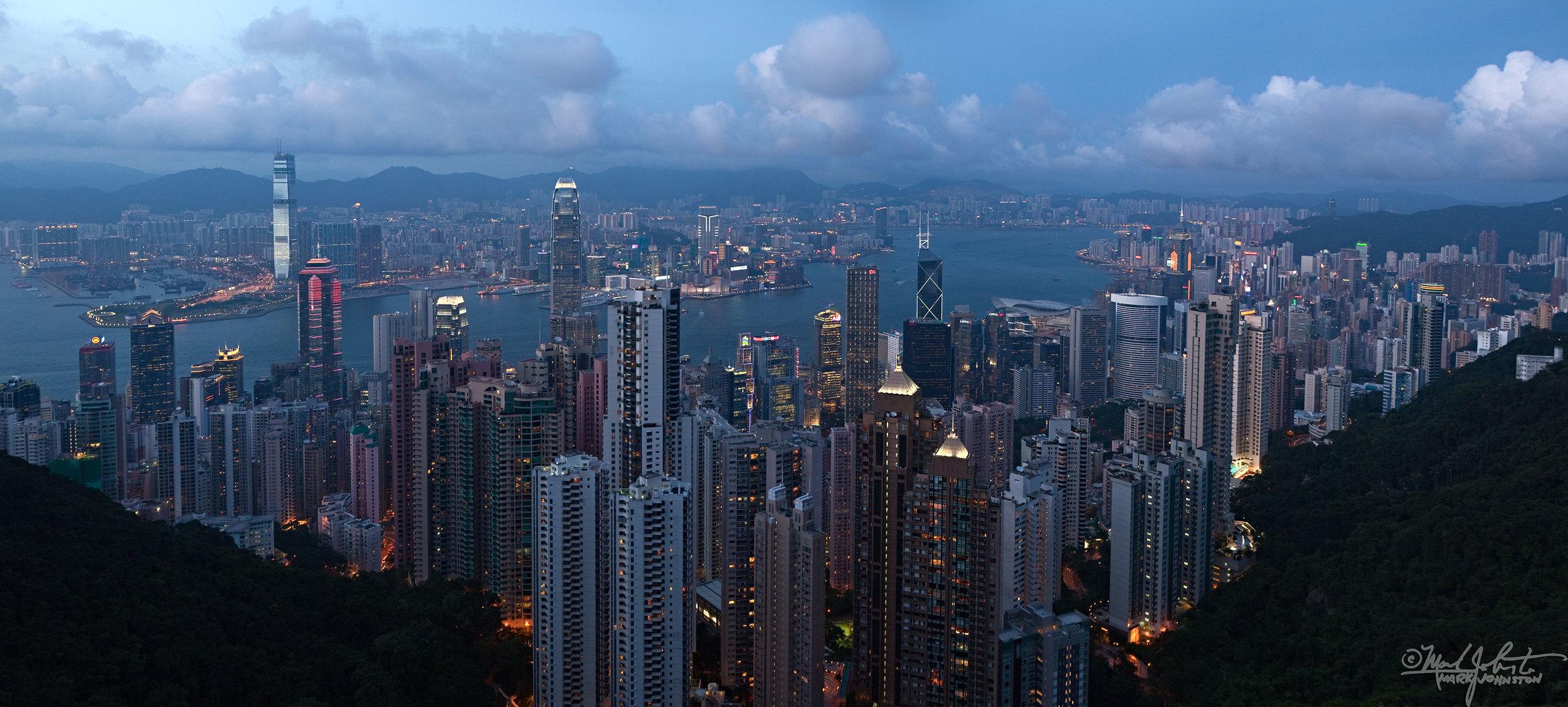 Hong Kong, and across Victoria Harbor, Kowloon.