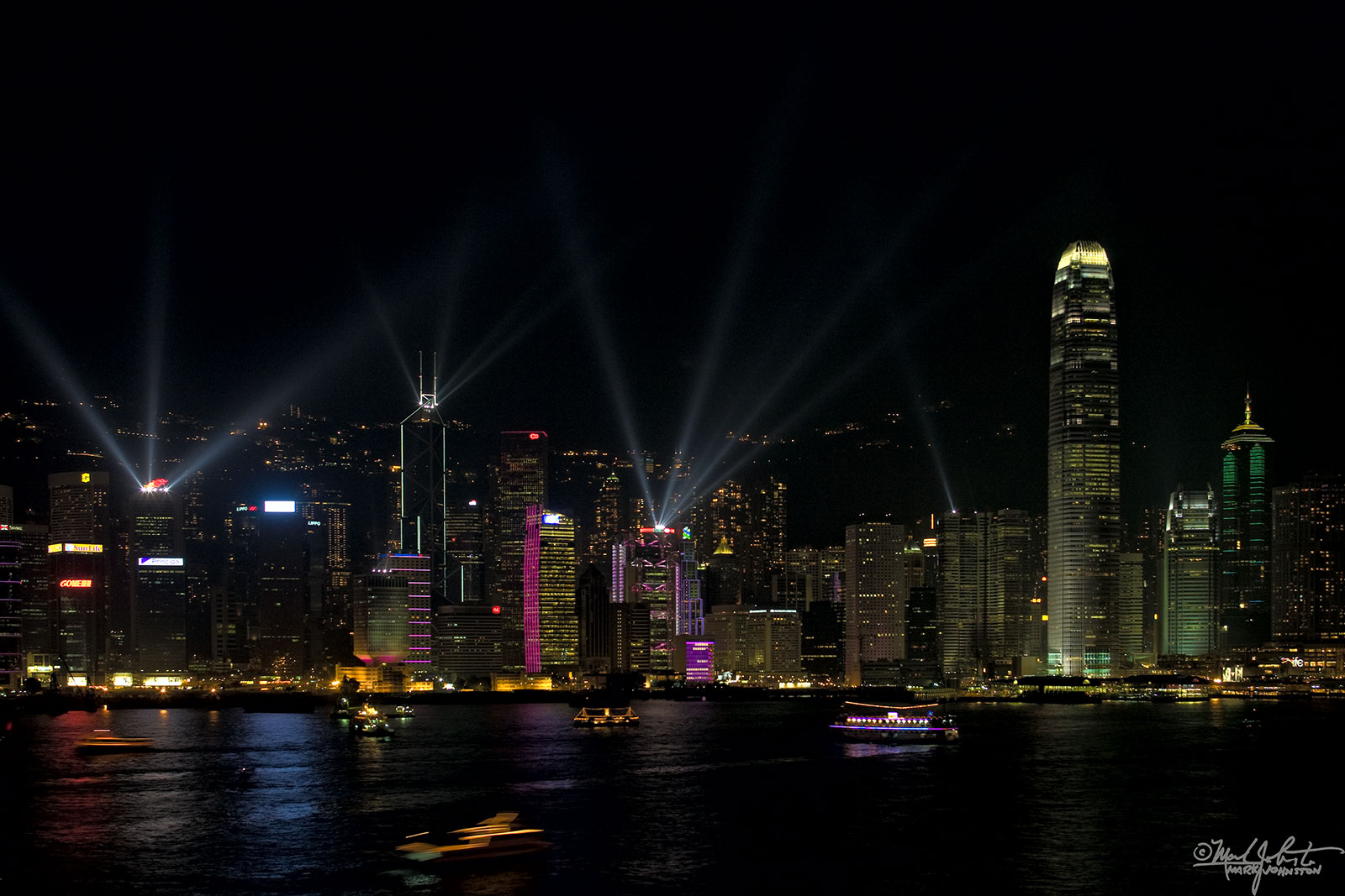 Looking across Victoria Harbor at Hong Kong from the Kowloon side.