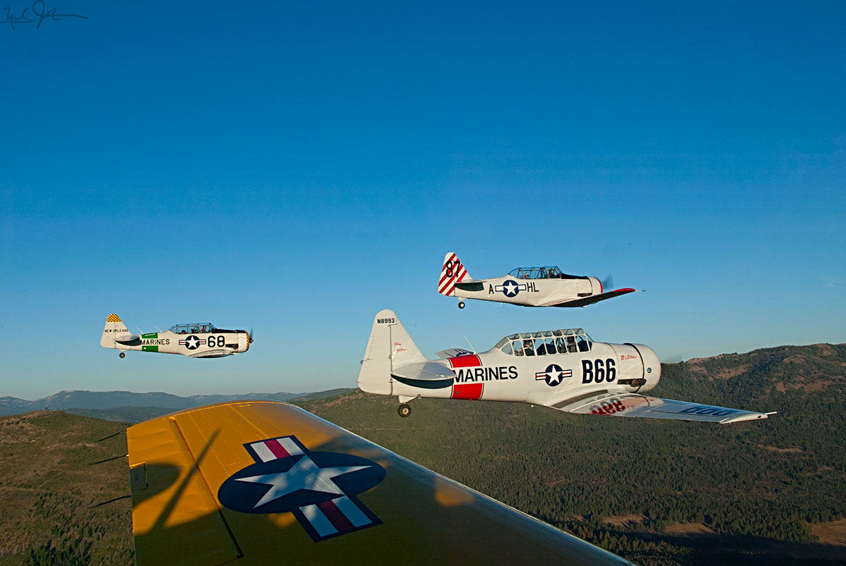 A morning formation flightof AT-6/SNJ aircraft, one of the primary trainers for WWII pilots.