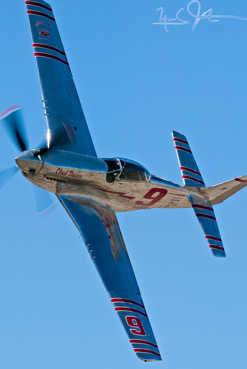 "North American P-51D ""Cloud Dancer"" flown by the late Jimmy Leeward at the Reno Air Races."