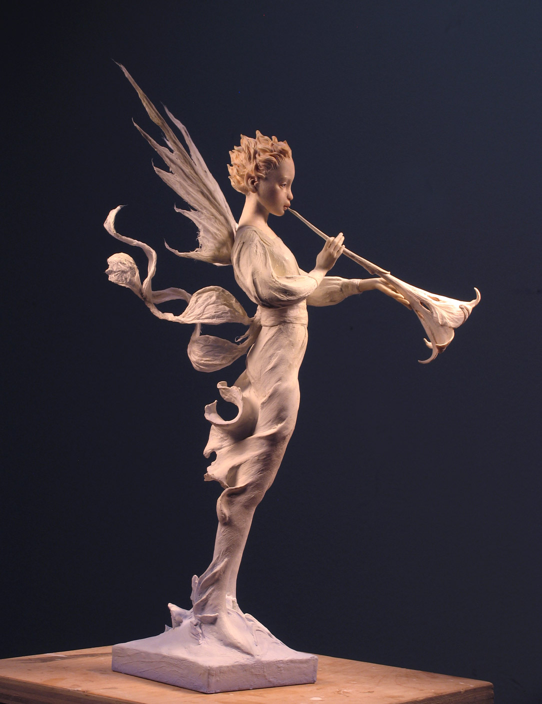 In Premier air-dry clay, with Kato Polyclay and washi paper. About 15.5 inches tall.