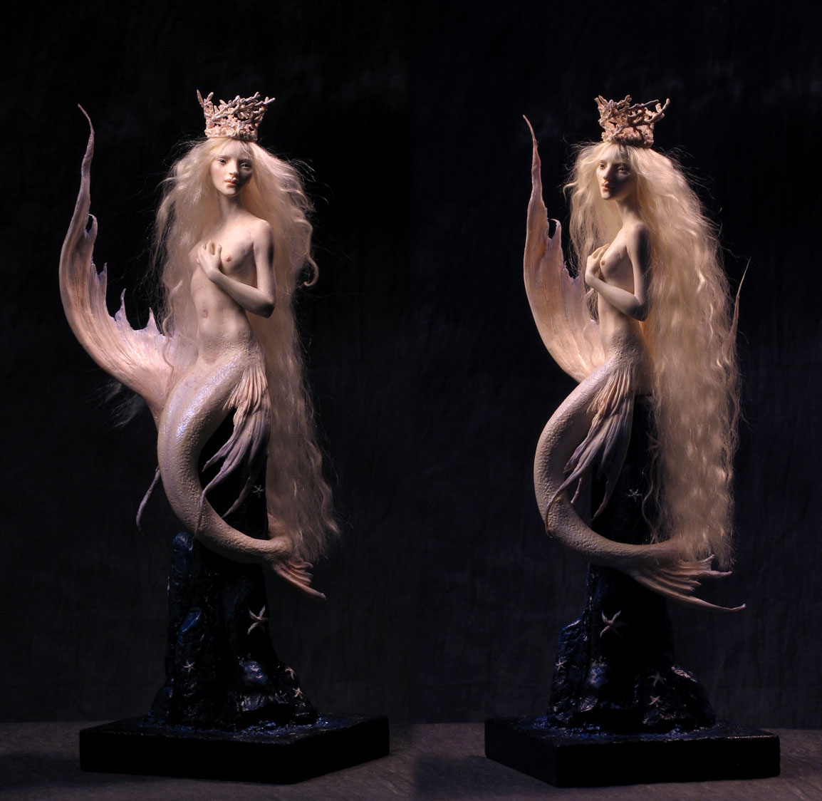 """Mermaid in Kato Polyclay, with mohair. She'd stand about 9"""" tall as a person with legs."""