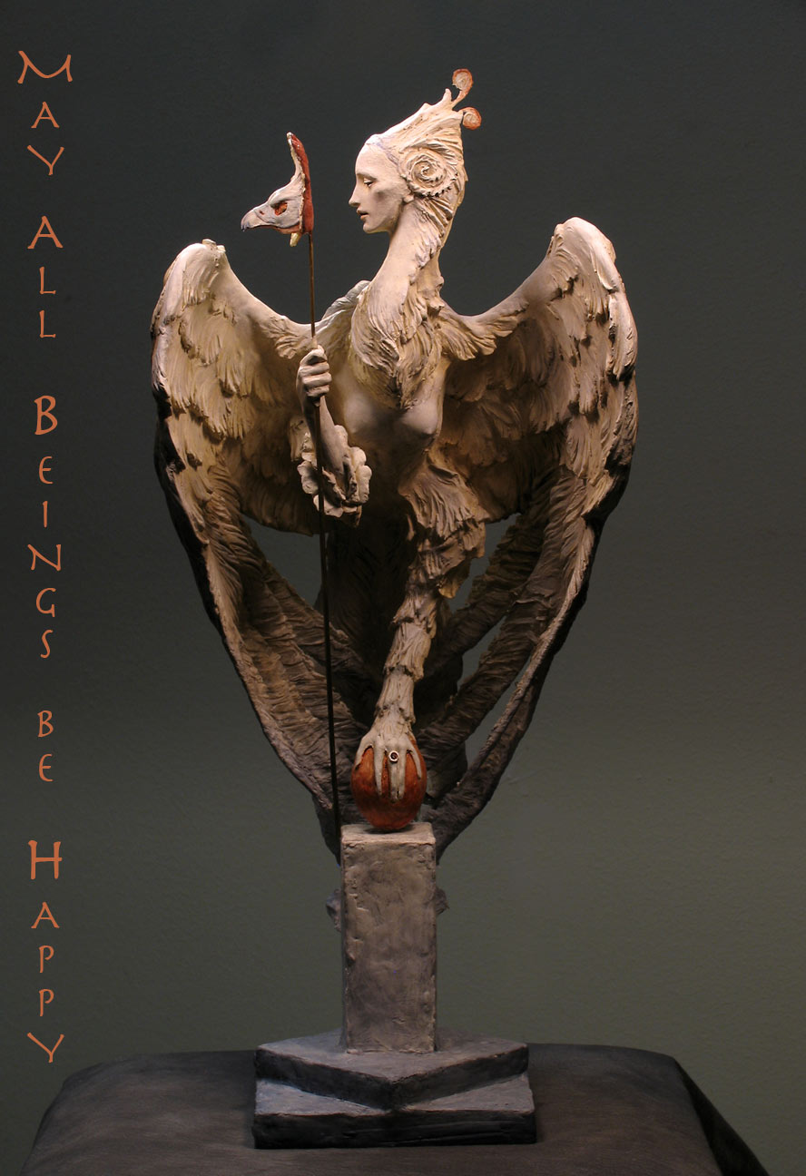 Venetian Harpy, in Premier air-dry clay, wood and washi papers.