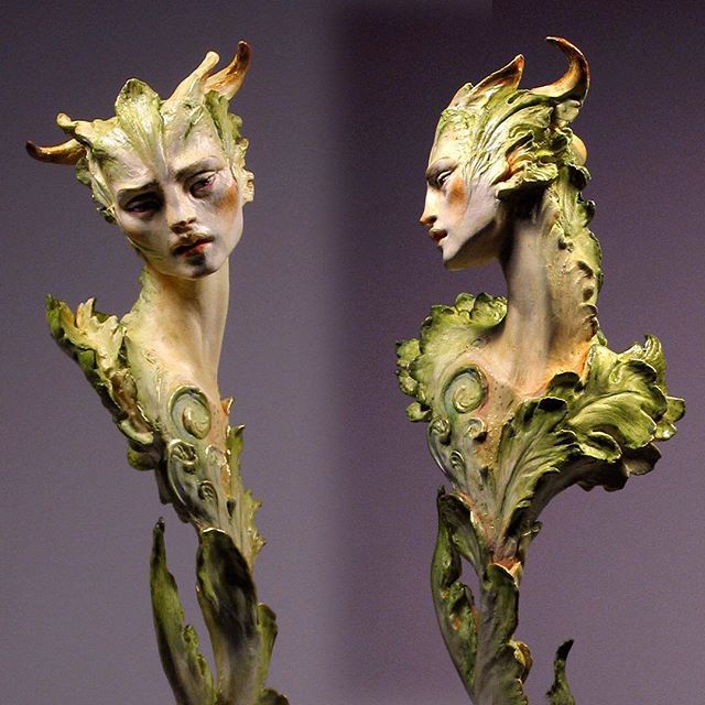 May your hopes flower in 2019, my Friends!  Happy New Year 🐛🦋 to You! (A leafy Faun, in Japanese air-dry clay with mulberry paper, acrylic inks and paints.) — #faun #forestrogers #fantasyart #greenman #imaginativerealism #sculpt #mythology #fairyland #sculpture #fairytale #airdryclay