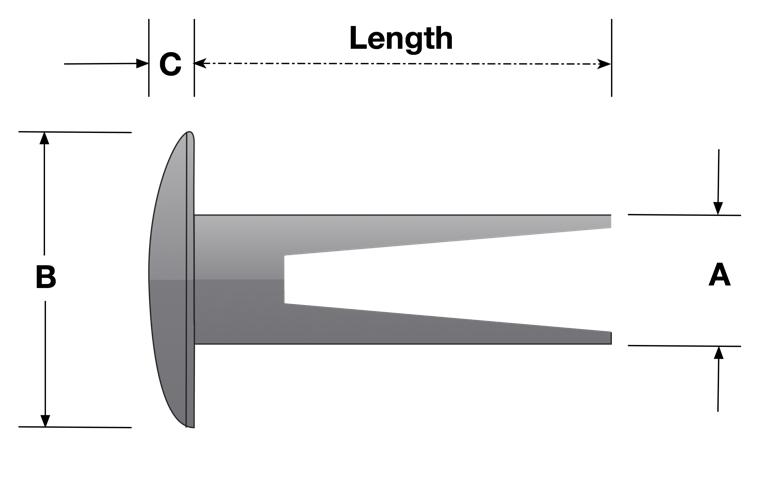 Large Truss Head Split Rivet