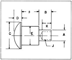 All Shoulder Rivets are made to customer specifications per the diagram above.  A = Tenon Diameter B = Tenon Length C = Head Diameter D = Head Thickness E = Shoulder Diameter F = Shoulder Length J = Hole Diameter K = Hole Depth