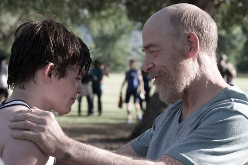 Josh Wiggins as Wes and J.K. Simmons as Bill in THE BACHELORS.