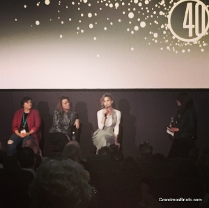 STORY OF A GIRL  post-screening discussion with (from left) author Sara Zarr, screenwriter Emily Bickford Lansbury, and first-time feature director Kyra Sedgwick
