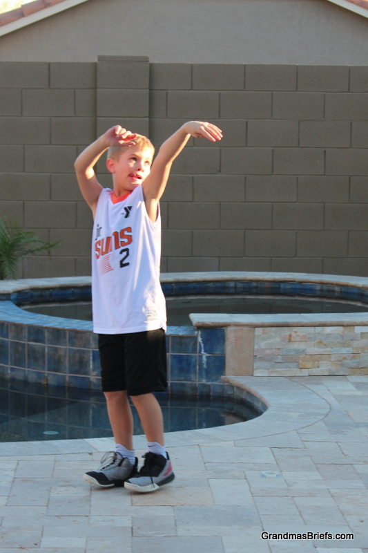 Brayden practicing before his first YMCA basketball game