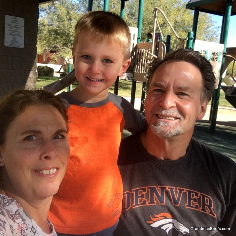 Gramma, Declan, and PawDad at the park while big brothers were at school