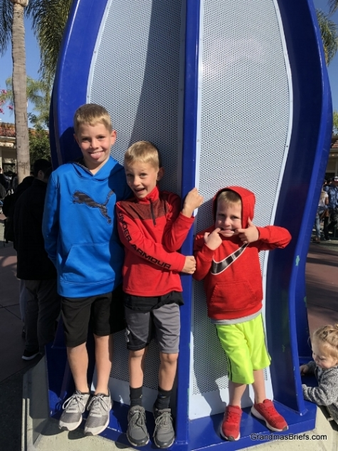 Brayden, Camden, and Declan upon arrival at Disneyland's Downtown Disney on Saturday.