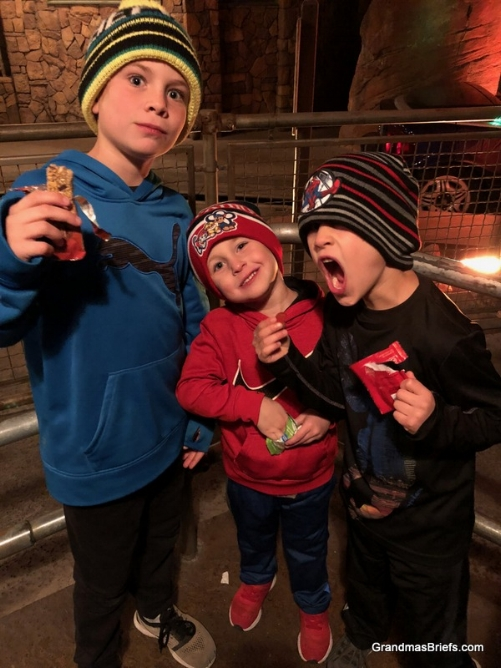 """Late night snack time """"while waiting in line to keep them awake"""" as Megan was determined to stay until the park closed Tuesday night, their last night there."""