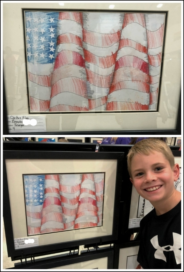 """Brayden and his """"Op-Art Flag"""" entry in the school art show, March 2018."""