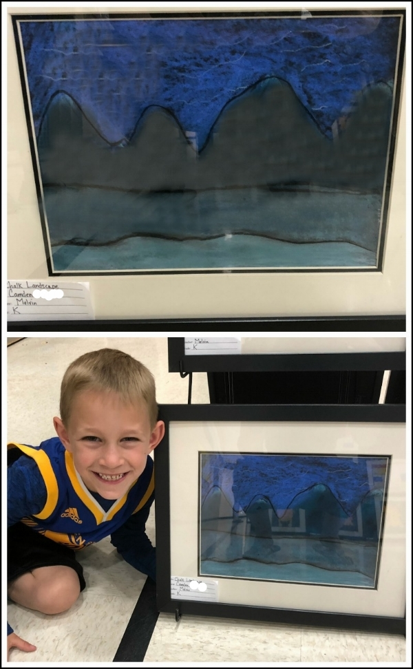 """Camden and his """"chalk landscape"""" entry in the school art show, March 2018."""