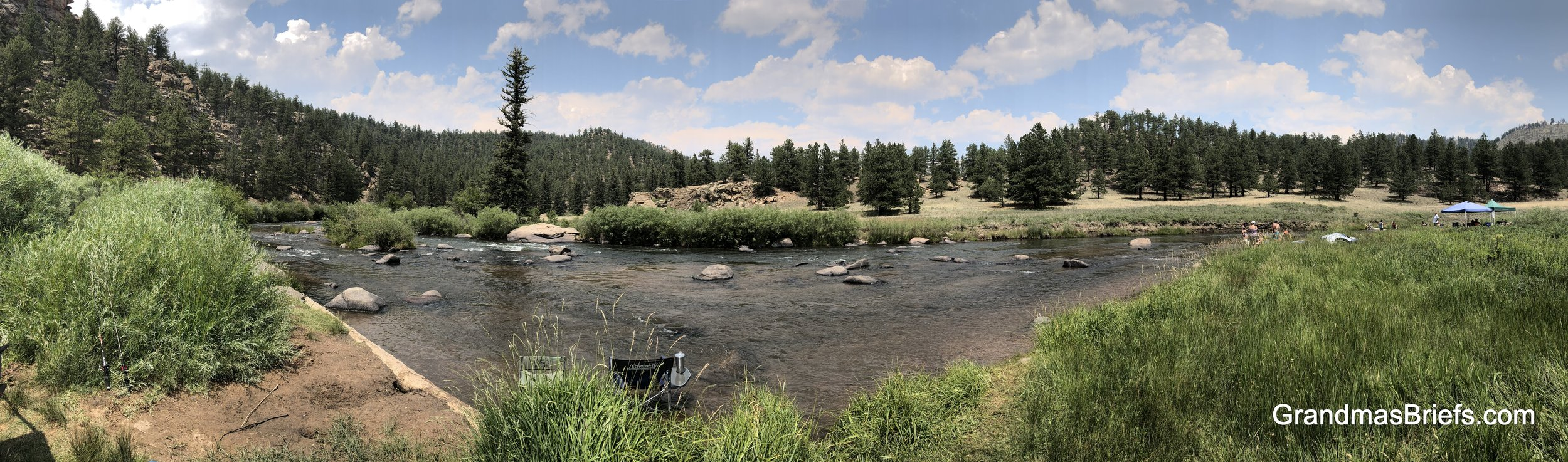 A panoramic shot of our spot at Happy Meadows Campground near Tarryall.