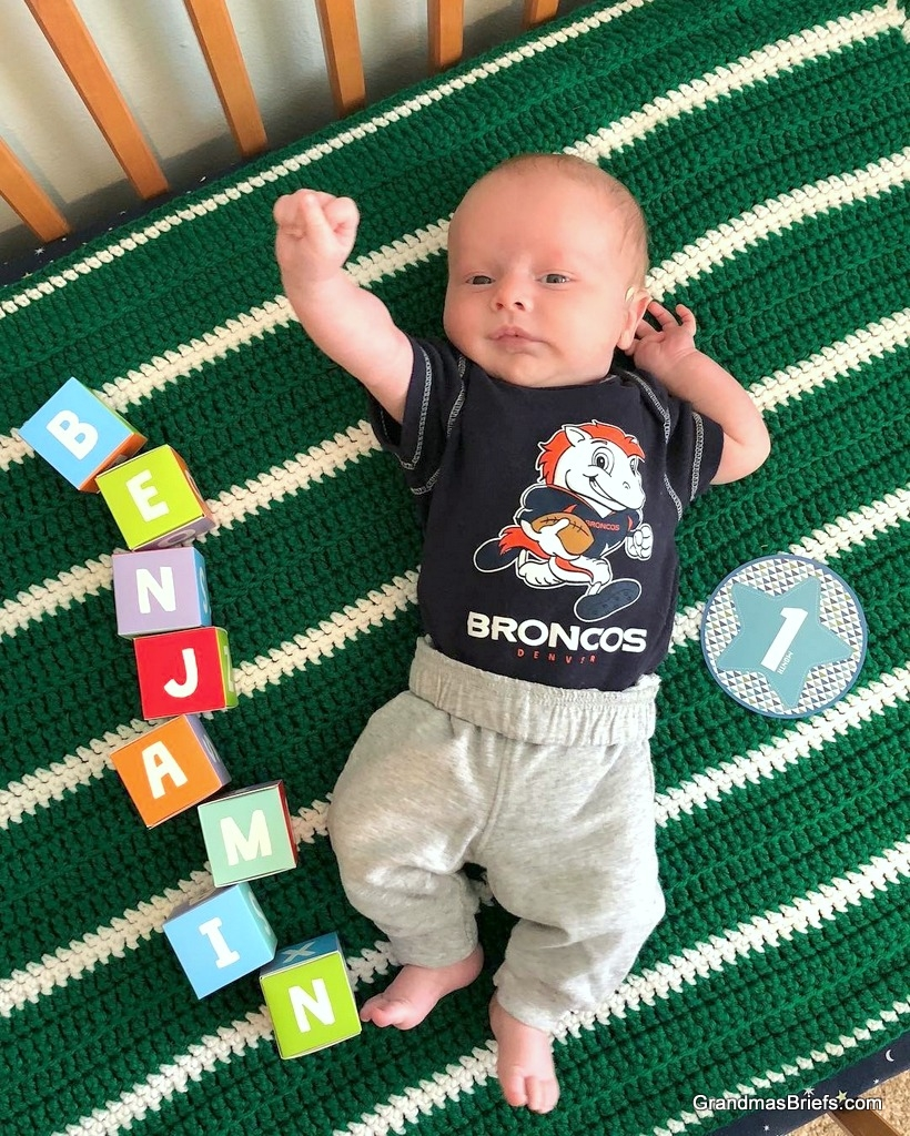 Broncos fan Benjamin celebrates crossing the one-month mark!