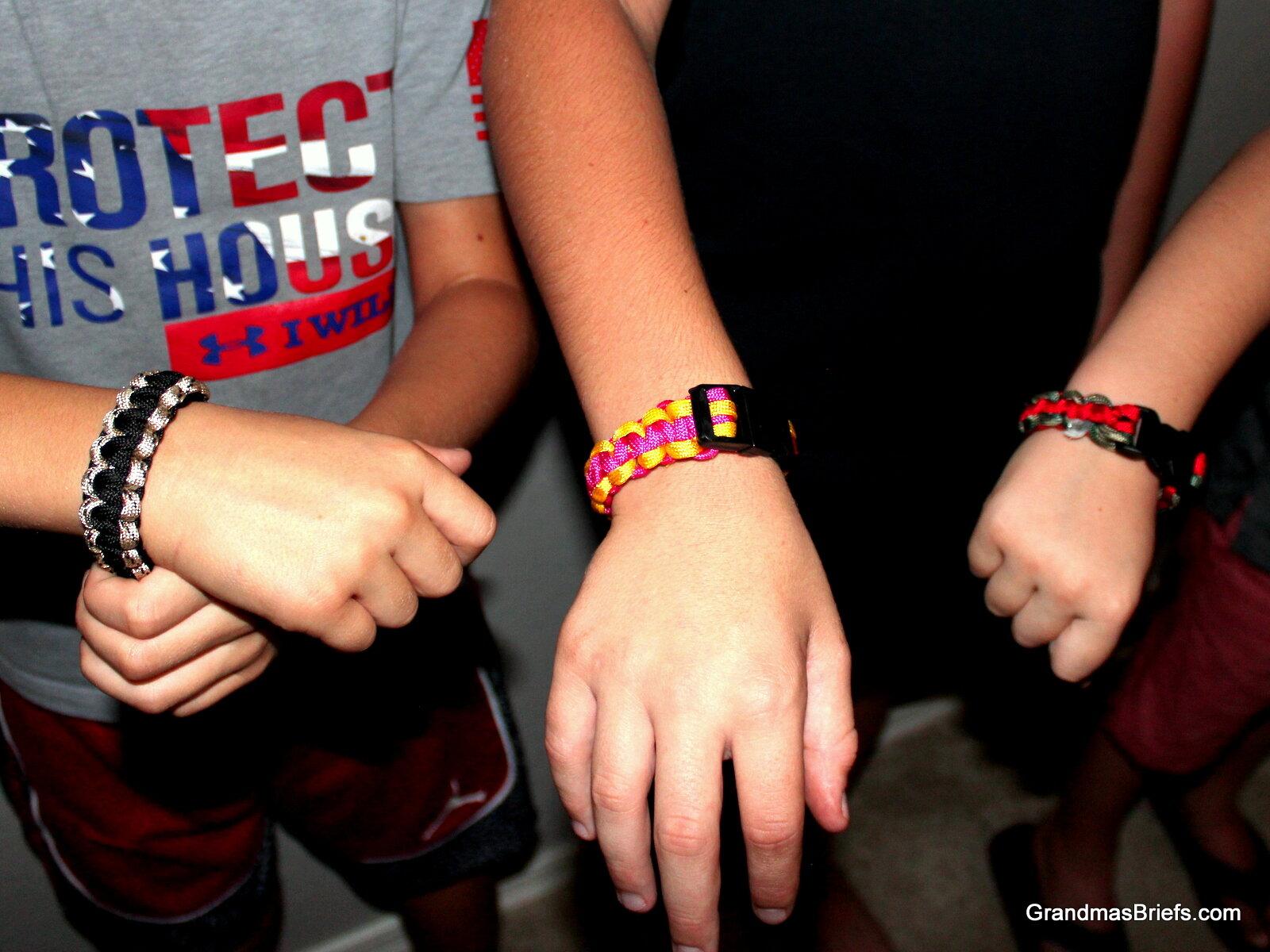 Completed paracord bracelets from left: Camden's, Brayden's, Declan's