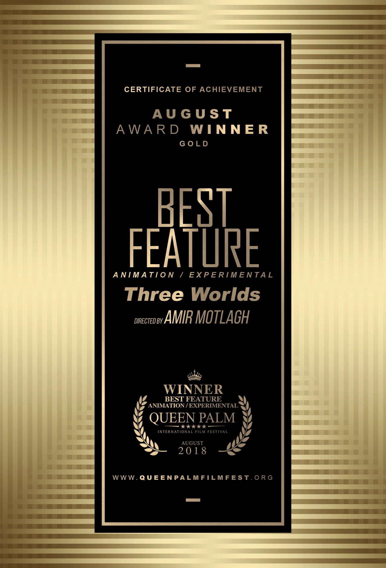 QPIFF Gold Award Winner Certificate - Best Feature - Animation:Experimental - FRONT SIDE.png