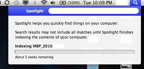 3 more weeks until Spotlight indexing complete