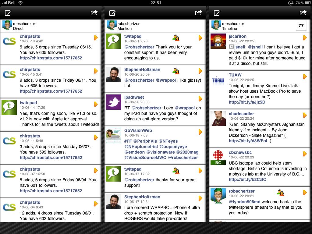 Twitepad showing 3 columns