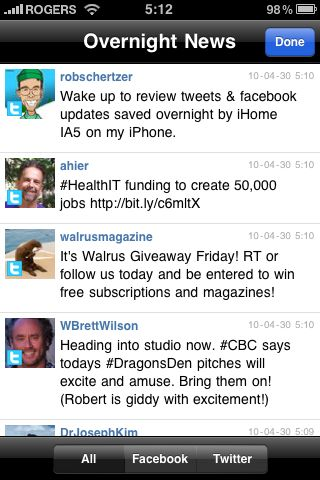 iHome + Sleep Overnight News (Twitter & Facebook)