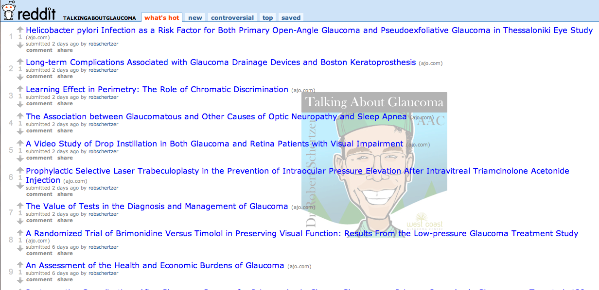 Talking About Glaucoma sub-reddit