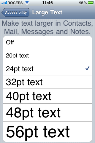 Accessibility iOS 4 font sizes