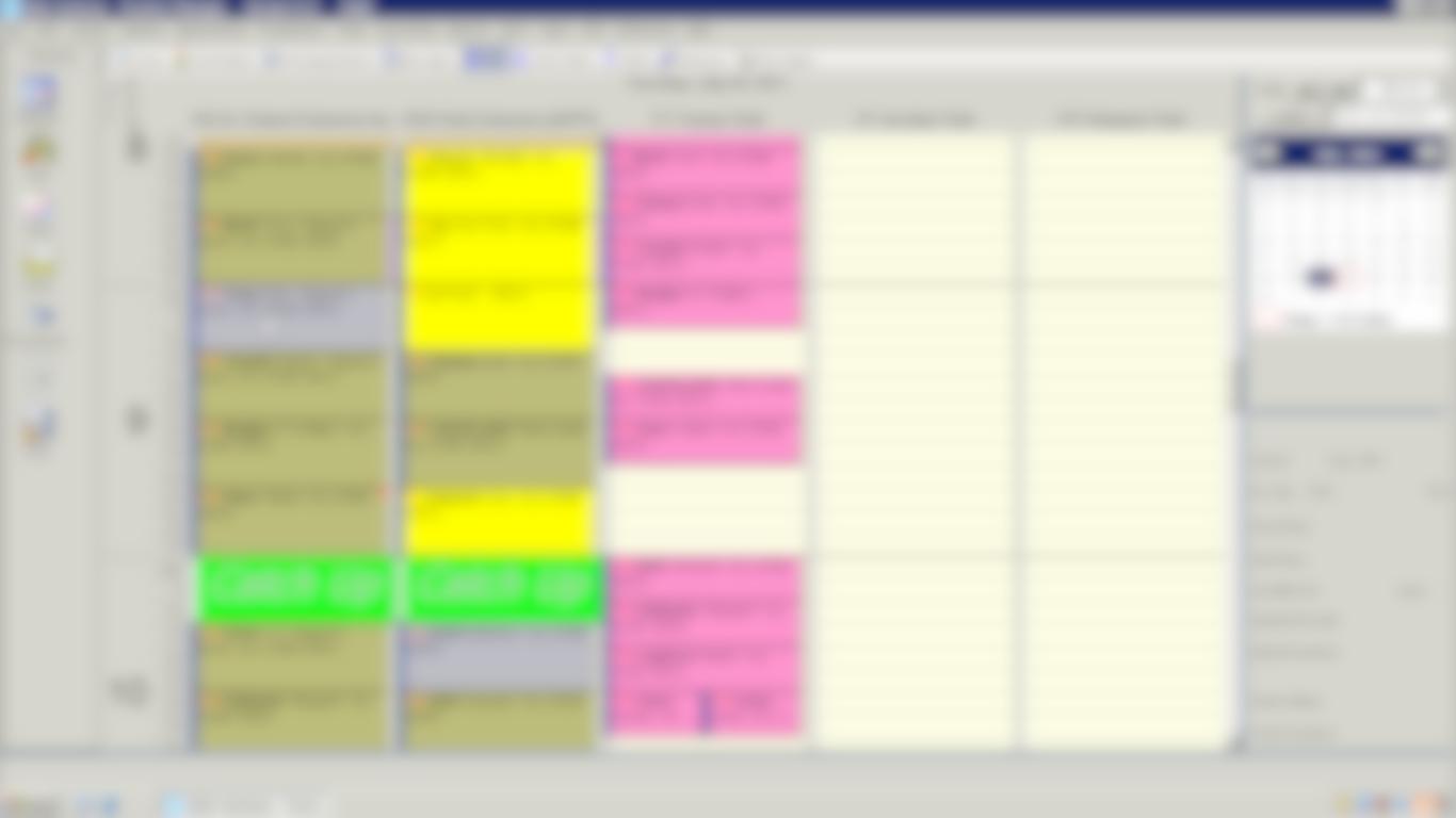 Osler Systems scheduler screen (blurred)