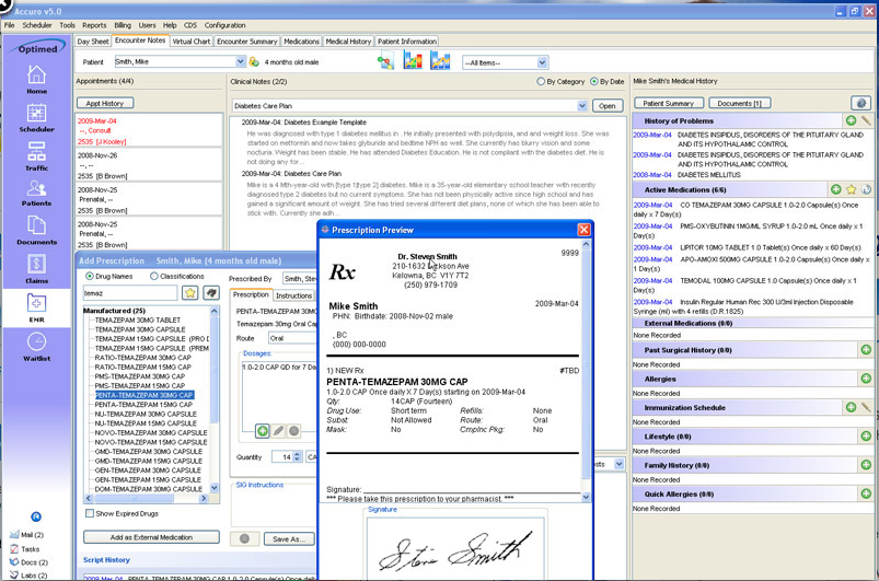 Optimed Software's Accuro face sheet
