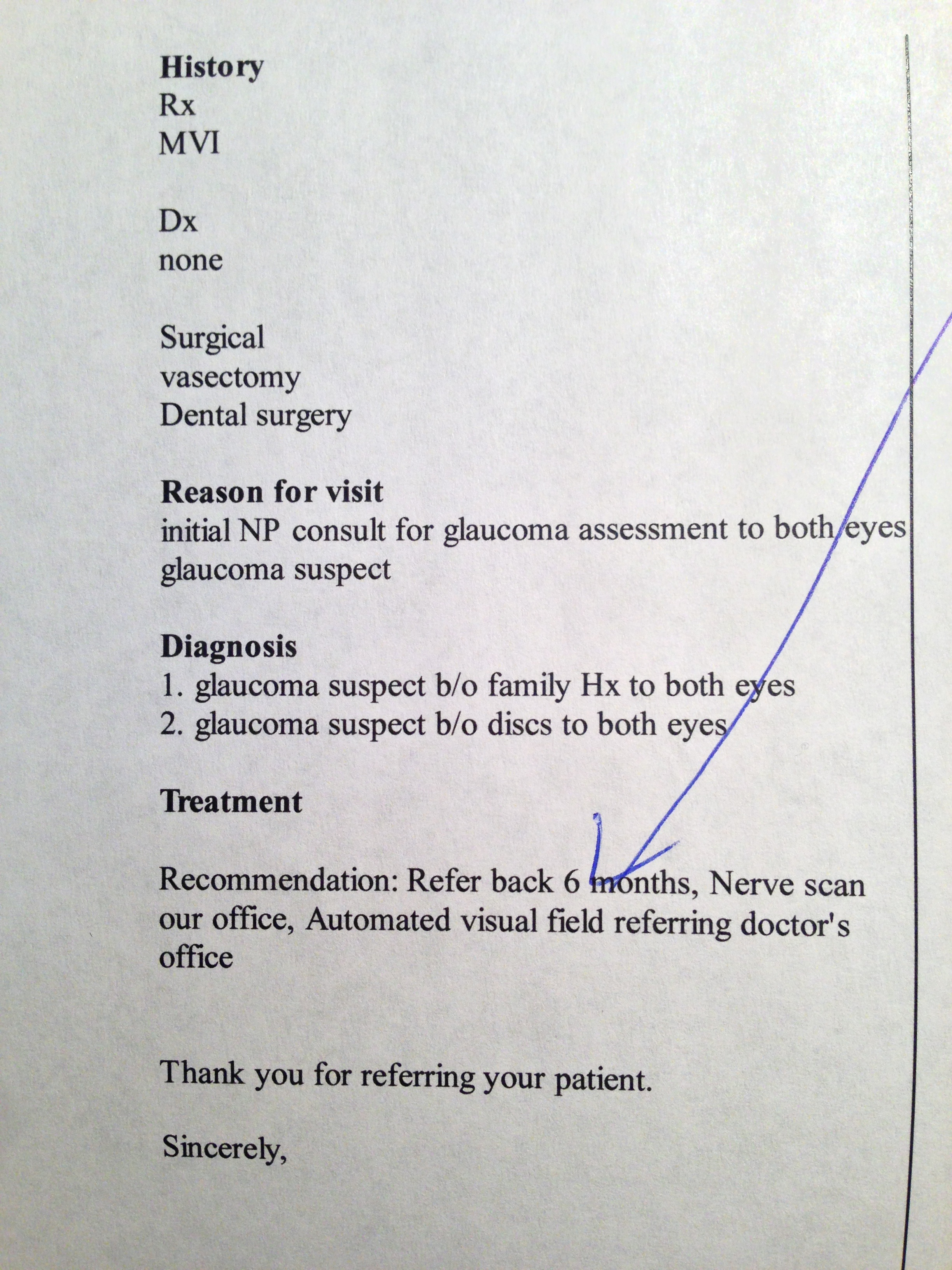 Glaucoma suspect before revising letter